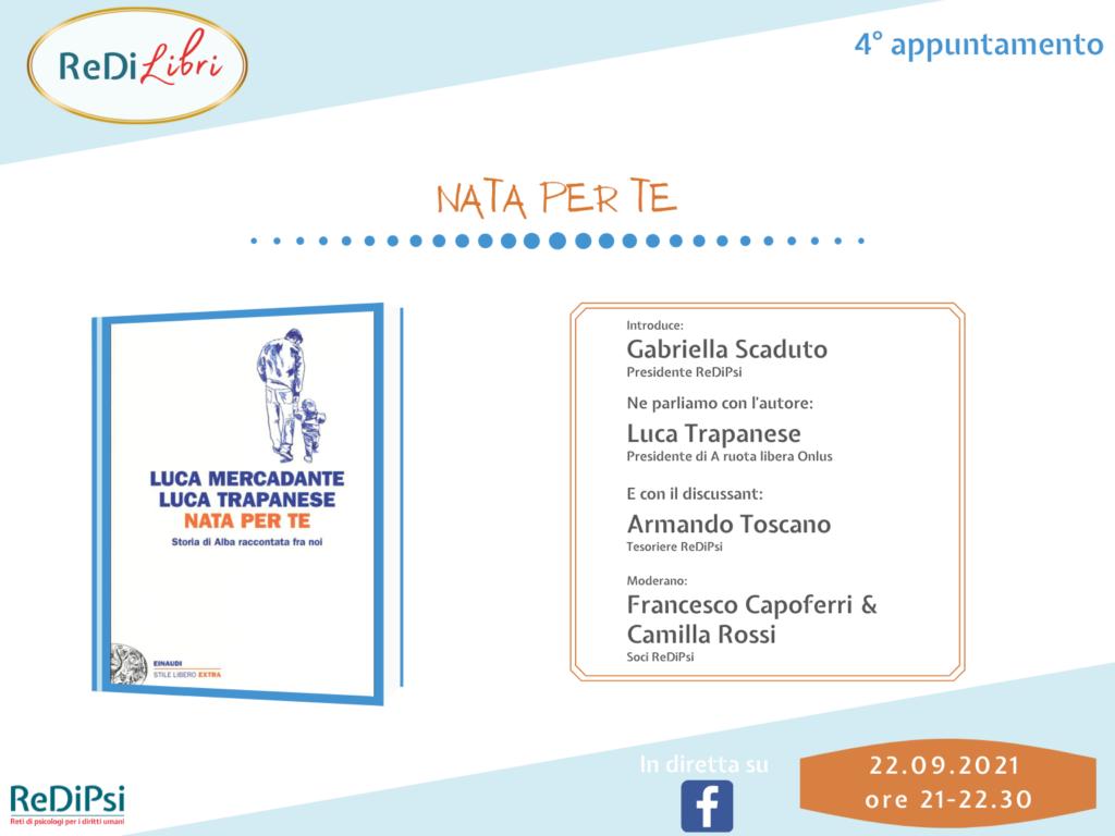 """Copertina libro """"nata per te"""" e nomi relatori del webinar"""